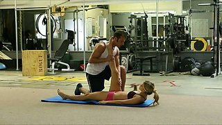 Flexible blond chick fucks a hot guy instead of working out in the gym