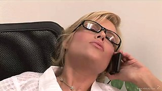 kinky secretary rides her boss' big cock in the office