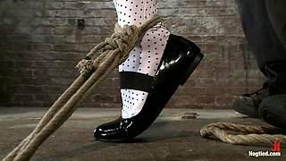 Jessie Cox in Pig Tails + Thigh Highs + Cotton Panties + Ball Gag + Brutal Crotch Rope = Awesome - HogTied