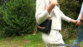 Glamour clothed ho cummed