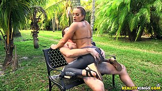 Kinky Abigail Mac enjoys playing with a big pecker outdoors