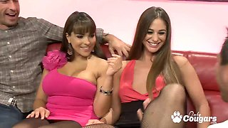 Cathy Heaven and Valery Summers sharing jizz snack