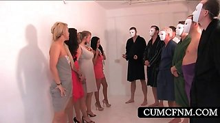 Handjob at CFNM sexparty with four sluts
