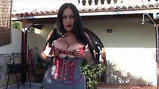 Busty Leather Lady with Corset near the Swimming Pool - Outdoor Blowjob Handjob with Red Long Nails - Cum on my Tits