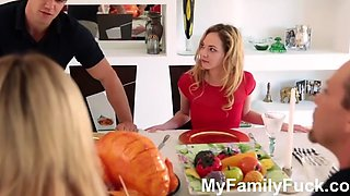 Step sister sucks and fucks brother during thanksgiving dinner myfamilyfuck.com
