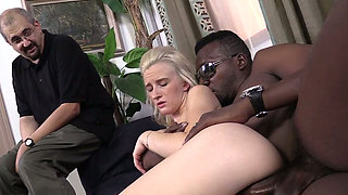 Brutal African man fucks skinny blond chick Skylar Green hard