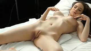Smoking hot virgin rubbing peachy soft cunt