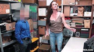 Shoplifting brunette Sofie Marie gets punished in the back room