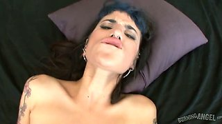 Tattooed harlot with pierced saggy jugs is fucked on a pov camera