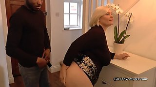 blonde grandma gets assfucked by young black guy
