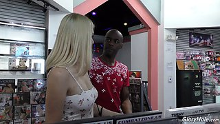 Big black cock glory hole action with lovely blonde