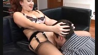 Perfect Nylon Lady gets nailed by her assistant