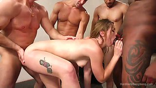 lucky ella gets gangbang at the gym