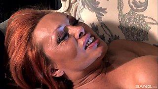 Redhead MILF sucks dick outdoors before slamming in her bedroom