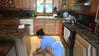 Stepson threesome with house maid & stepmom