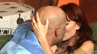Skinny redhead secretary gets eaten by her brutal boss