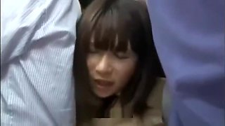 Busty Japanese School girl groped and fucked on bus