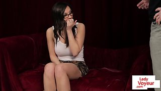 Eurobabe strips and instructs guy to stroke