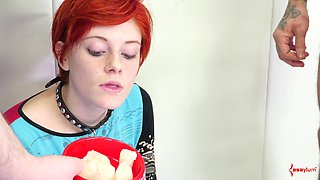 Sexy redhead called Ava getting punished in a BDSM adventure