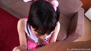 striking brunette with small tits getting facial cumshot in pov shoot