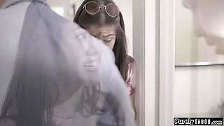 Busty embarrassed asian teen wets her pants ifo her stepdad