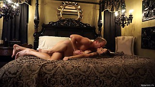 Couple gets into bed for a sensual, romantic night of action