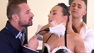Sexy maid Mia Melone likes to play with two dicks at the same time