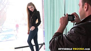 Teenage babe doggystyled in public for cash