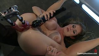 brutal fucking machines scene with a busty babe