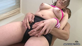 Sporty big breasted Japanese hottie Emi Masaki is fucked from behind