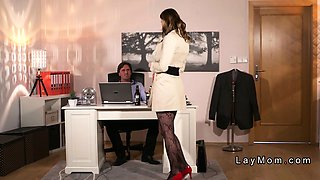 Wife in lingerie banging husband in office