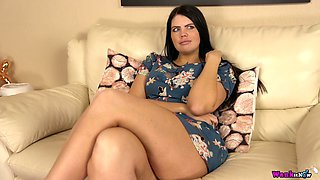 Smoking hot chubby milf Kylie K gets naked and shows her captivating tits and pussy