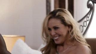 Sexy blonde MILF cherie deville seducing her black stepson
