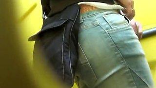 Gentle butt spied in portable toilet
