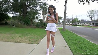 Pigtailed teen Brenna Sparks hooks up with one kinky rude dude