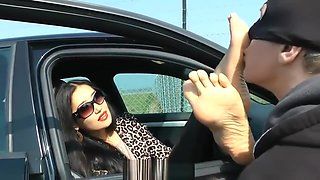 Licking the Feet of German Goddess in Car