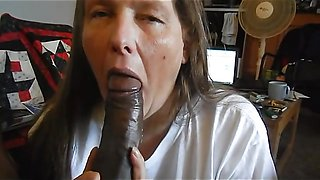 Amateur mature wife sucking big black dick