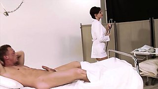 This sexy brunette nurse with great tits decided to fuck