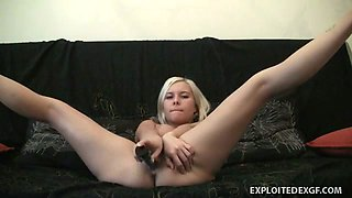 Rather flexible blond haired chick from Russia is crazy about her masturbation