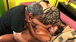 Wondrous tanned hooker with droopy boobs gets her fluffy pussy drilled mish