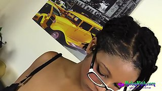 ebony in glasses masturbates