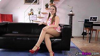 Teen on her knees sucking