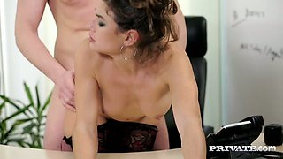 New secretary Julia Roca gives blowjob to horny boss