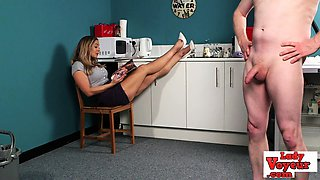 Bigtits CFNM beauty instructs wanking guy