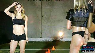 sexy black teen doing a tough pre season gym workout