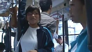 Japanese Babe In Glasses Gets Ass Fucked in A Public Bus