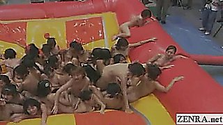 Subtitled huge group of Japanese nudists oil wrestling