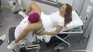 Spanish red haired babe Gala Brown hooks up with gynecologist