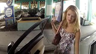 Dixie Belle gives roadhead and fucked in gas stations toilet