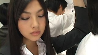 Saori Hara the Asian stunner gives a blowjob in the subway